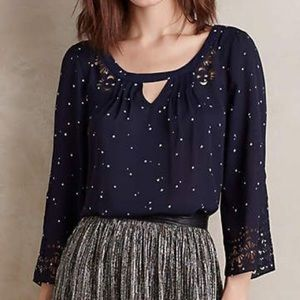 ANTHRO Maeve Cut-Out Blouse in Star Print